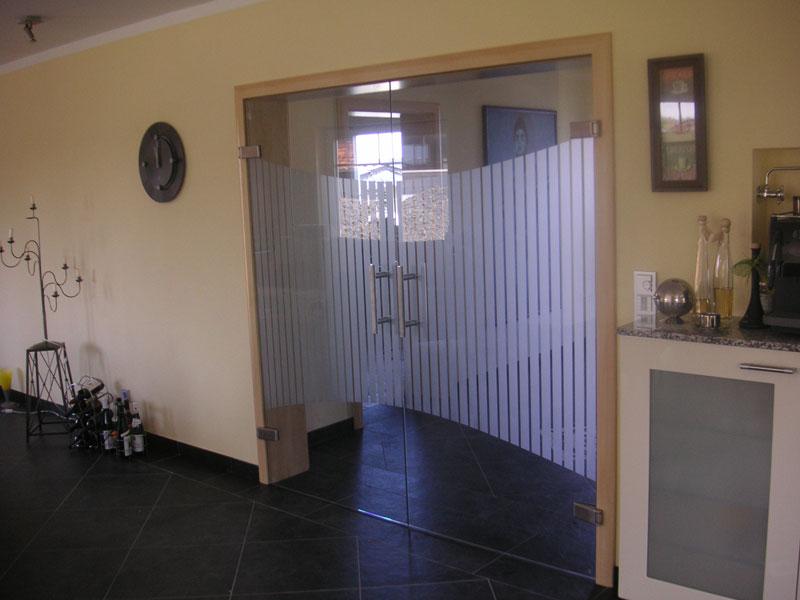 Doppelflügelige Wohnzimmertüre Mit Sichschutzmattierung